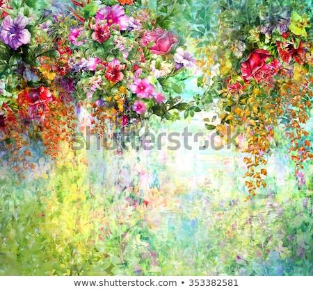 Wazig bloemen rode bloemen licht achtergrond Stockfoto © furmanphoto