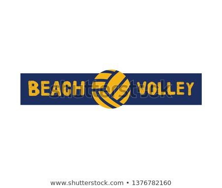 ビーチ バレーボール ロゴ テンプレート バッジ ボレー ストックフォト © JeksonGraphics