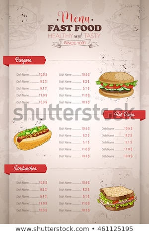 Rysunek pionowy kolor fast food menu projektu Zdjęcia stock © netkov1
