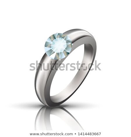 Precious Platinum Ring With Round Gemstone Vector Stock photo © pikepicture