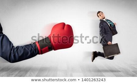 красный боксерская перчатка из мало бизнесмен большой Сток-фото © ra2studio
