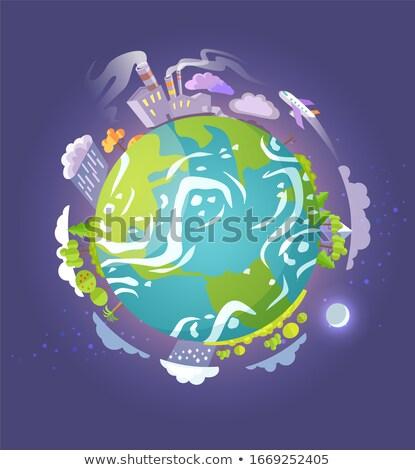 Terra globo arranha-céus alto emissão vetor Foto stock © robuart