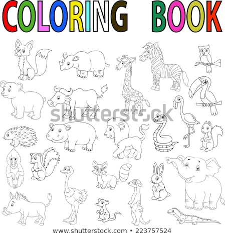 Animaux groupe livre de coloriage cartoon illustration Photo stock © izakowski