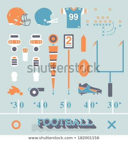 American football flat icon set Stock photo © netkov1