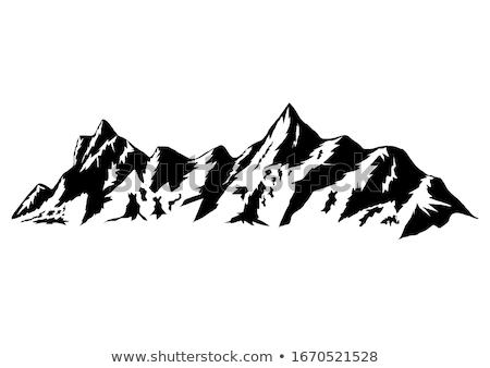 Peak Of Rocky Mountain Landscape Vintage Vector Stock photo © pikepicture