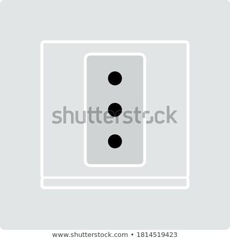 elektrik · soket · ikon · siyah · beyaz · imzalamak · siyah - stok fotoğraf © angelp