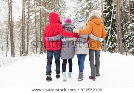 Stockfoto: Dating · paar · bos · achteraanzicht · mensen · lopen