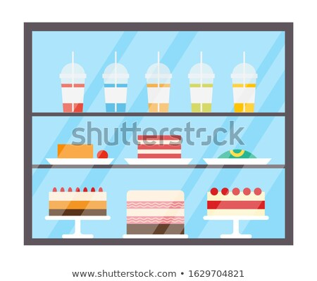 Cake and Juices in Plastic Cups Refrigerator Stock photo © robuart