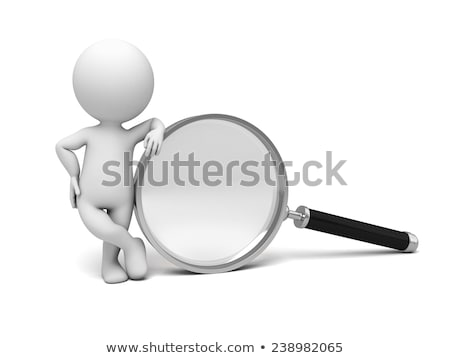 Man Holding Big Magnifying Glass, Isolated 3D Stock photo © robuart