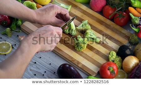 Broccoli tagliere taglio verde legno Foto d'archivio © lichtmeister