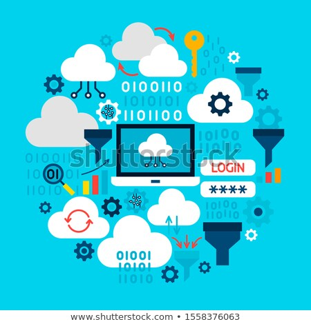 cloud computing gear binary circle icon stock photo © anna_leni