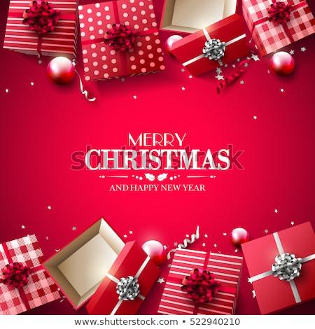 Christmas czerwony śniegu blask luksusowe dar Zdjęcia stock © Anneleven