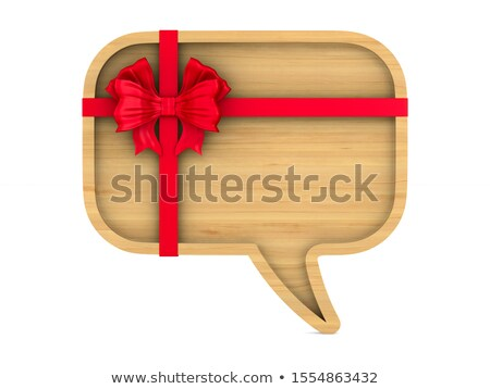 wooden bubble speak with bow on white background. Isolated 3D il Stock photo © ISerg