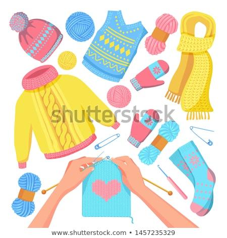 Laine vêtements pliées mode Photo stock © neirfy