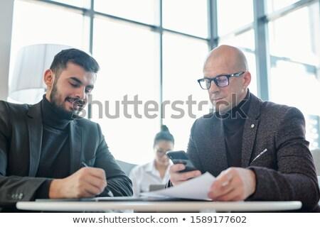один Бизнес-партнеры подписи договор переговоры сидят Сток-фото © pressmaster