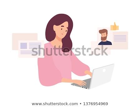 Kalma çevrimiçi adam kadın dizüstü bilgisayar kullanıyorsanız vektör Stok fotoğraf © robuart