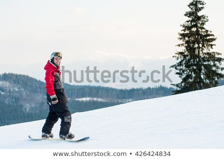 Snowboard Standing In Snow With Winter Mountains In Background Stock photo © AndreyPopov