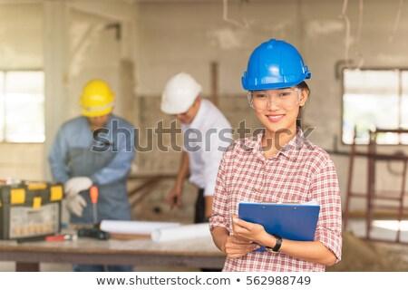 Csoport biztonság mérnökök dolgozik terv biztonsági felszerelés Stock fotó © AndreyPopov