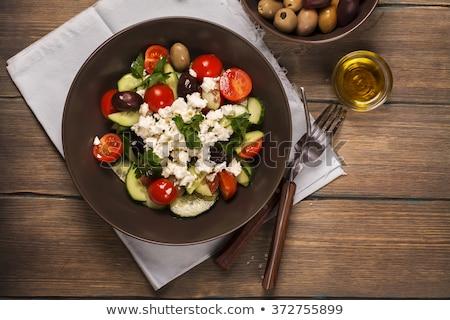традиционный греческий Салат фета оливками овощей Сток-фото © furmanphoto