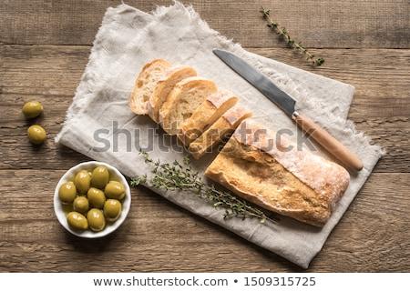 イタリア語 · 白パン · 食品 · 緑 · 黒 · 朝食 - ストックフォト © Alex9500