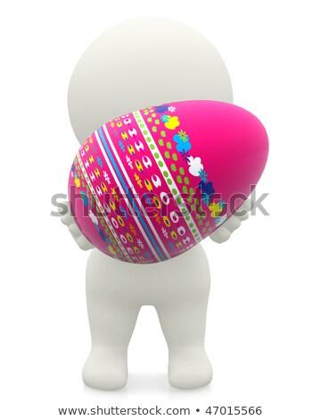3d человек пасхальное яйцо иллюстрация изолированный белый Сток-фото © 3dmask