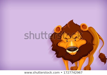 Background template design with plain color and wild lion Stock photo © bluering