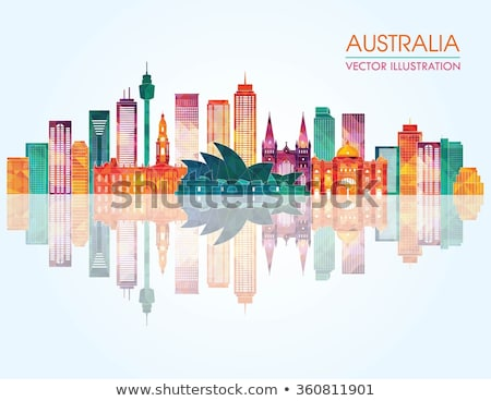 Abstrato Melbourne linha do horizonte cor edifícios Foto stock © ShustrikS