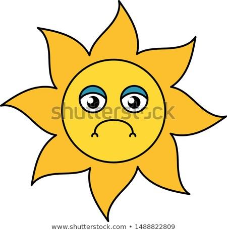Traurige Sonne. Hässliche Sonne - Vektor-Design