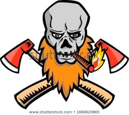 Bearded Skull Crossed Axe Cigar Mascot Stock photo © patrimonio
