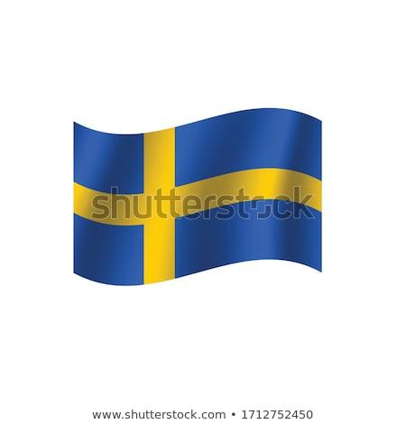 Zweden vlag hand witte achtergrond vrijheid Stockfoto © butenkow