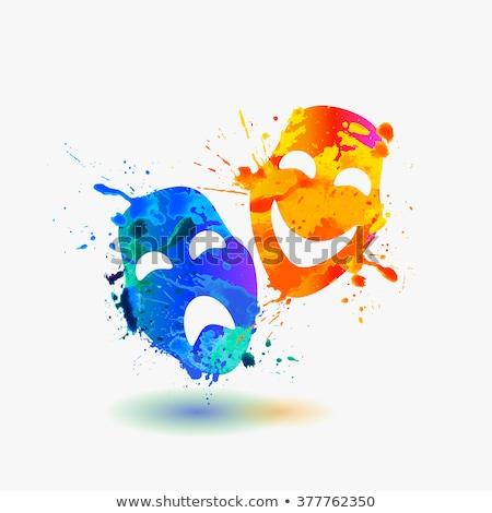 Szczęśliwy smutne dramat maska kolorowy tęczy Zdjęcia stock © evgeny89