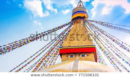 buda · olhos · oração · bandeiras · blue · sky · azul - foto stock © bbbar