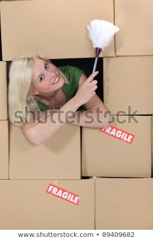 Karton · Boxen · fragile · Lächeln - stock foto © photography33