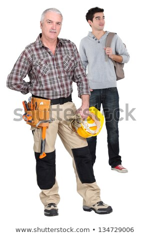 Teenager stood with woodworker Stock photo © photography33