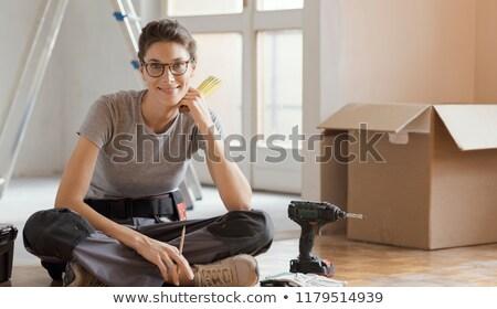 Jungen Builder Sitzung Werkzeugkasten Hände Arbeit Stock foto © photography33