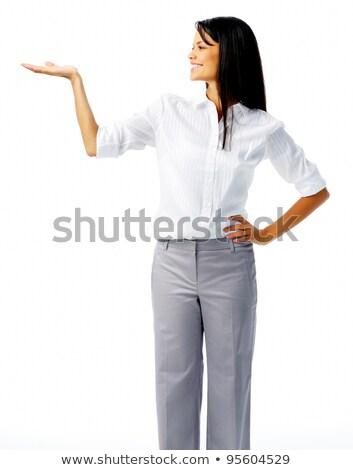 Jovem mulher bonita olhando abrir palms feliz Foto stock © rosipro