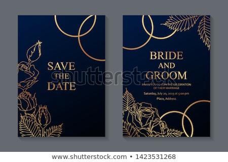 Invitation de mariage carte or anneaux fête amour Photo stock © carodi