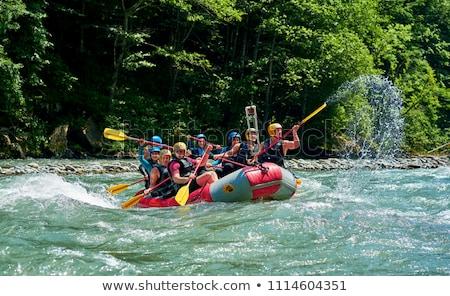 Rafting courant arbres Voyage bateau pierre Photo stock © taden