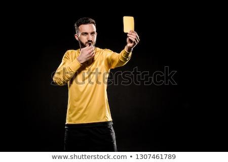 kéz · mutat · citromsárga · kártya · bíró · figyelmeztetés - stock fotó © andreypopov