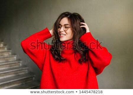 Túlméretezett pulóver rajz fiú húzás gyermek Stock fotó © blamb