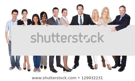 Businessmen Presenting Empty Horizontal Banner Stock photo © Voysla