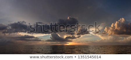 View of storm seascape in sunset Stock photo © meinzahn