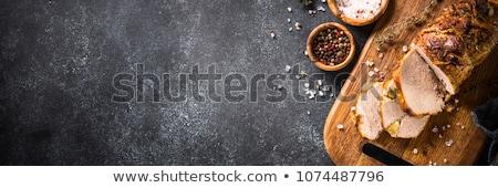 Foto stock: Carne · de · porco · fatias · delicioso · ervas