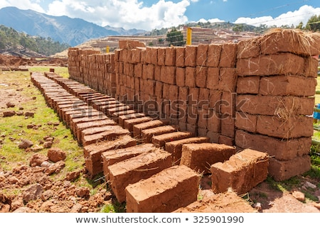 Stock photo: Stacked Handmade Adobe Bricks