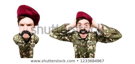 Foto d'archivio: Divertente · soldato · militari · isolato · bianco · uomo