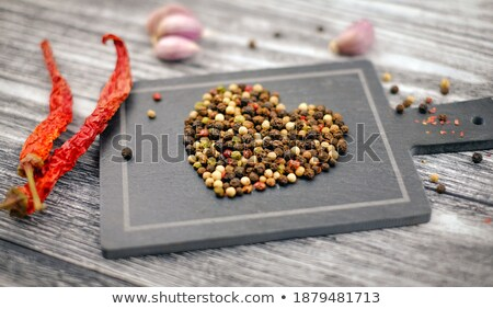 Stock photo: Pepper and Garlic as Hot Food Ingredients for Piquant Cuisine