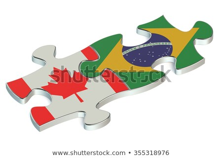canada and brazil flags in puzzle stock photo © istanbul2009
