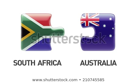 Stock photo: Australia and South Africa Flags in puzzle