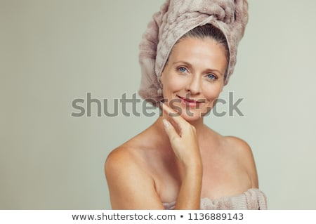 woman wrapped in towel after bath stock photo © carbouval