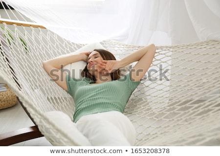 Fille hamac enfant détente ensoleillée vacances Photo stock © FOTOYOU